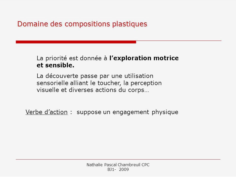 Nathalie Pascal Chambreuil CPC BJ1- 2009 Domaine des compositions plastiques La priorité est donnée à lexploration motrice et sensible. La découverte