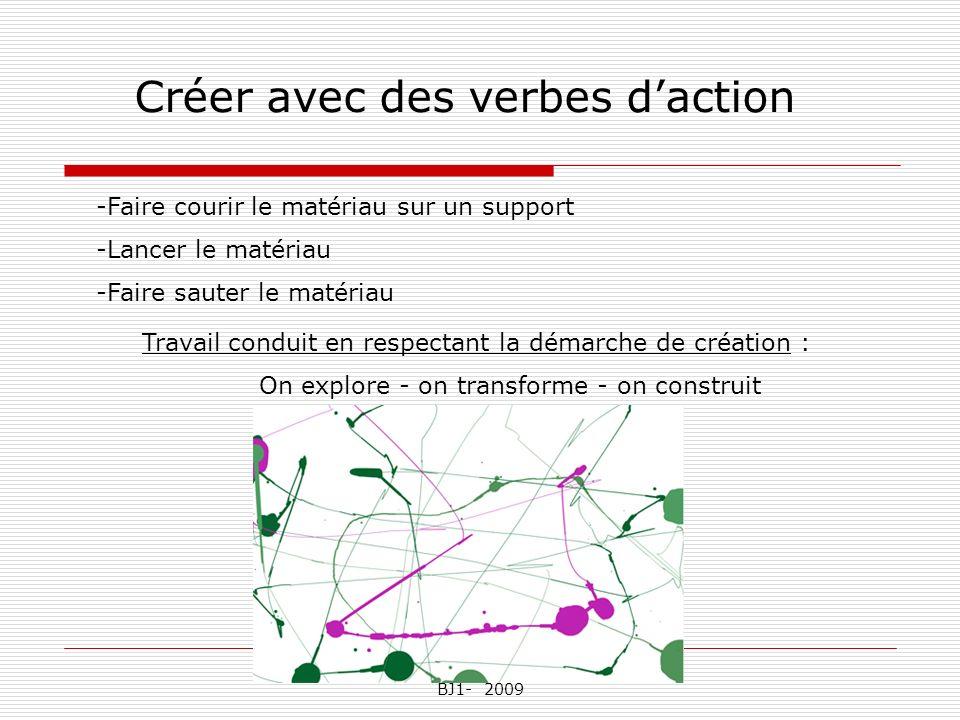 Nathalie Pascal Chambreuil CPC BJ1- 2009 Créer avec des verbes daction -Faire courir le matériau sur un support -Lancer le matériau -Faire sauter le m
