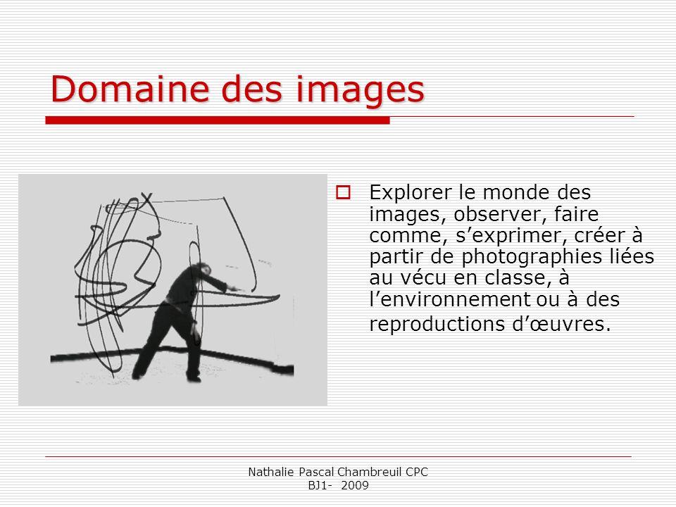 Nathalie Pascal Chambreuil CPC BJ1- 2009 Domaine des images Explorer le monde des images, observer, faire comme, sexprimer, créer à partir de photogra