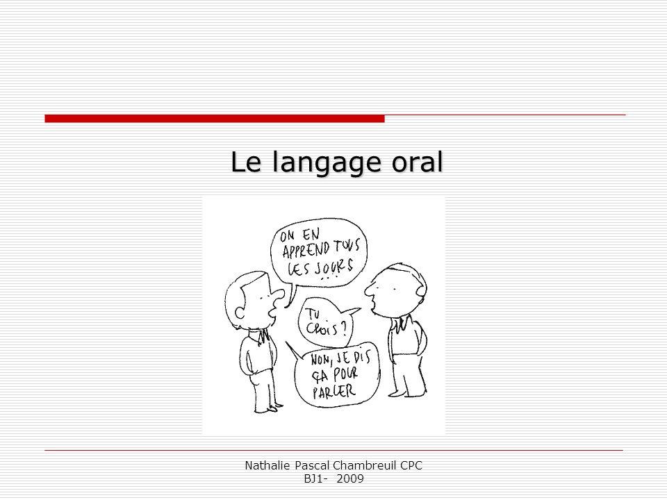 Nathalie Pascal Chambreuil CPC BJ1- 2009 Langage daccompagnement de laction.