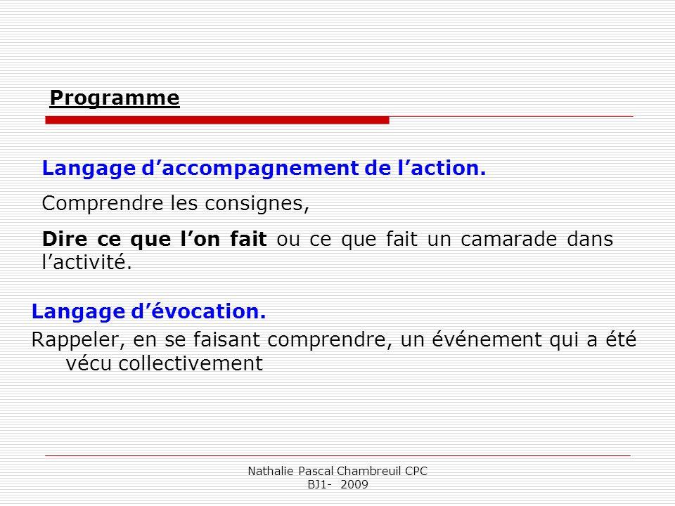 Nathalie Pascal Chambreuil CPC BJ1- 2009 Langage daccompagnement de laction. Comprendre les consignes, Dire ce que lon fait ou ce que fait un camarade