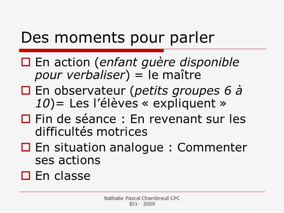 Nathalie Pascal Chambreuil CPC BJ1- 2009 Des moments pour parler En action (enfant guère disponible pour verbaliser) = le maître En observateur (petit