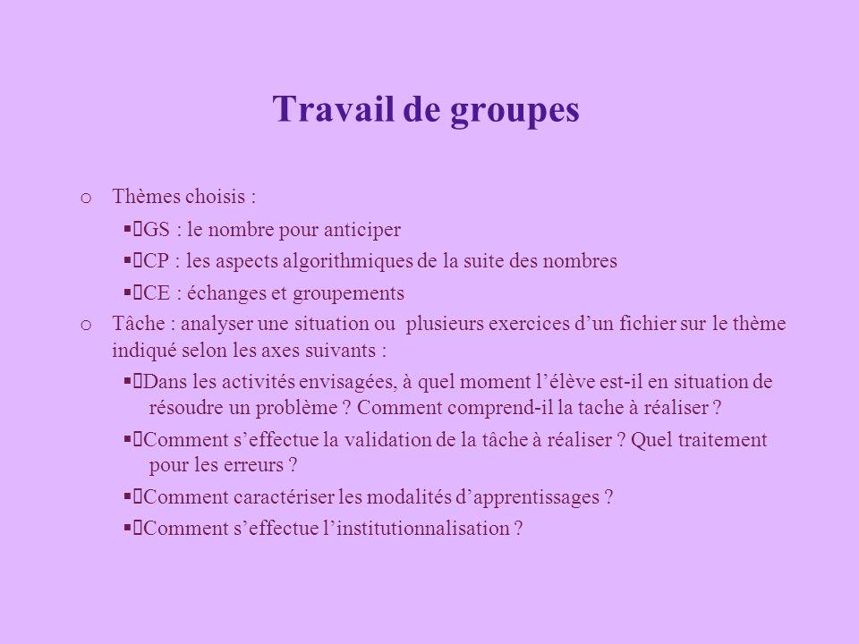Travail de groupes o Thèmes choisis : GS : le nombre pour anticiper CP : les aspects algorithmiques de la suite des nombres CE : échanges et groupemen