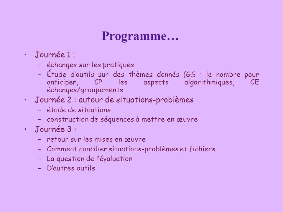 Programme… Journée 1 : –échanges sur les pratiques –Étude doutils sur des thèmes donnés (GS : le nombre pour anticiper, CP les aspects algorithmiques,