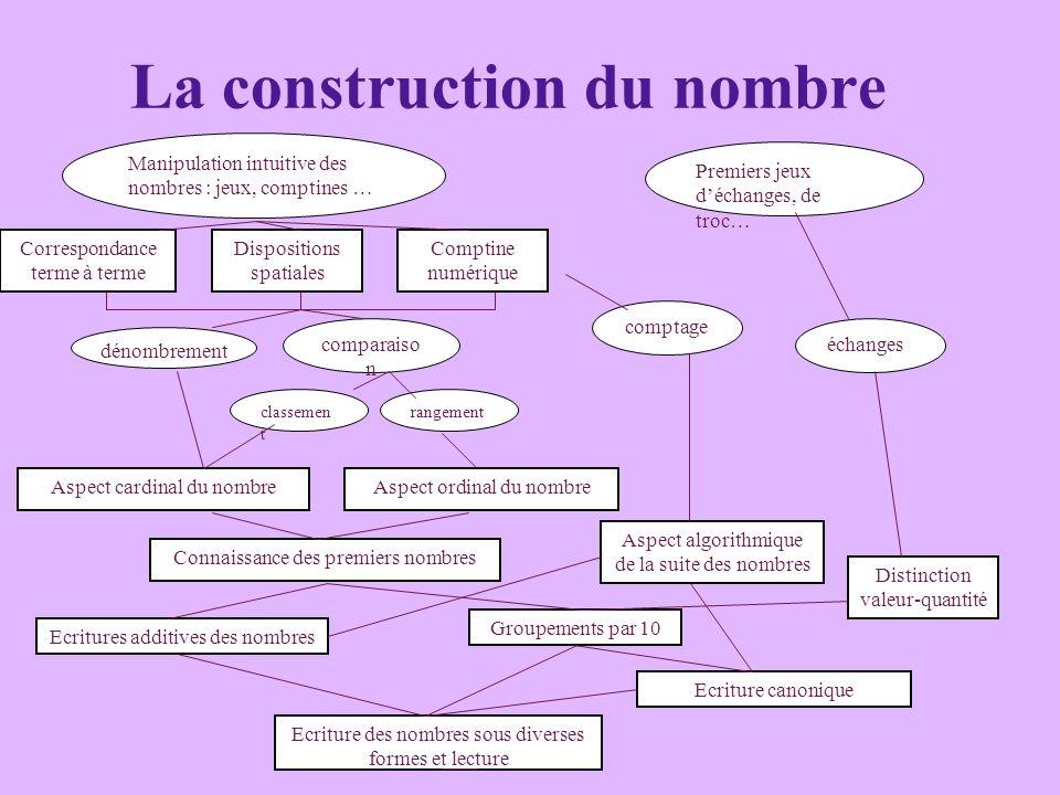 La construction du nombre Manipulation intuitive des nombres : jeux, comptines … Correspondance terme à terme Dispositions spatiales Comptine numériqu