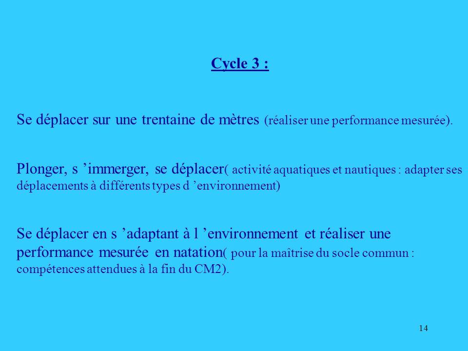 14 Cycle 3 : Se déplacer sur une trentaine de mètres (réaliser une performance mesurée). Plonger, s immerger, se déplacer ( activité aquatiques et nau