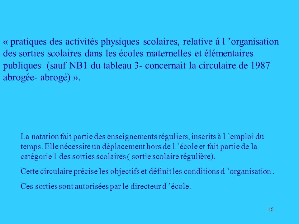 16 « pratiques des activités physiques scolaires, relative à l organisation des sorties scolaires dans les écoles maternelles et élémentaires publique