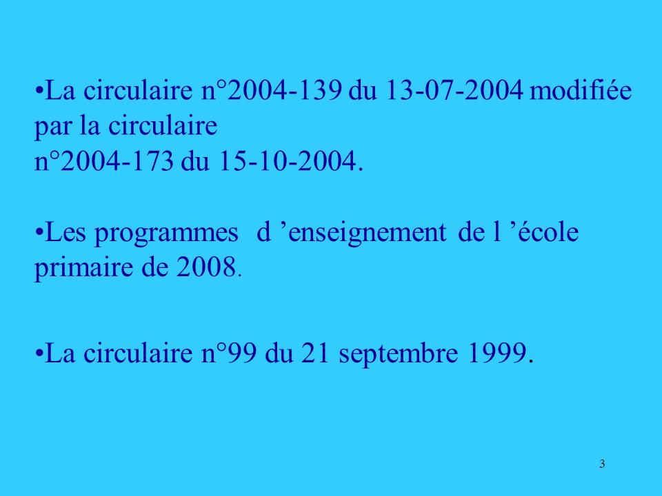 3 La circulaire n°2004-139 du 13-07-2004 modifiée par la circulaire n°2004-173 du 15-10-2004. Les programmes d enseignement de l école primaire de 200