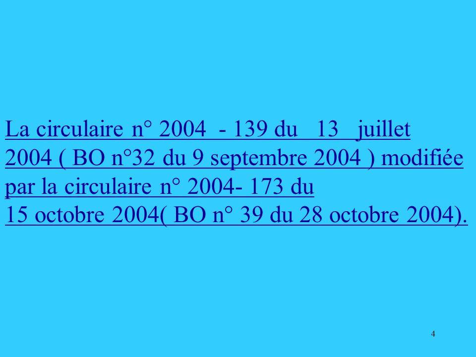 4 La circulaire n° 2004 - 139 du 13 juillet 2004 ( BO n°32 du 9 septembre 2004 ) modifiée par la circulaire n° 2004- 173 du 15 octobre 2004( BO n° 39