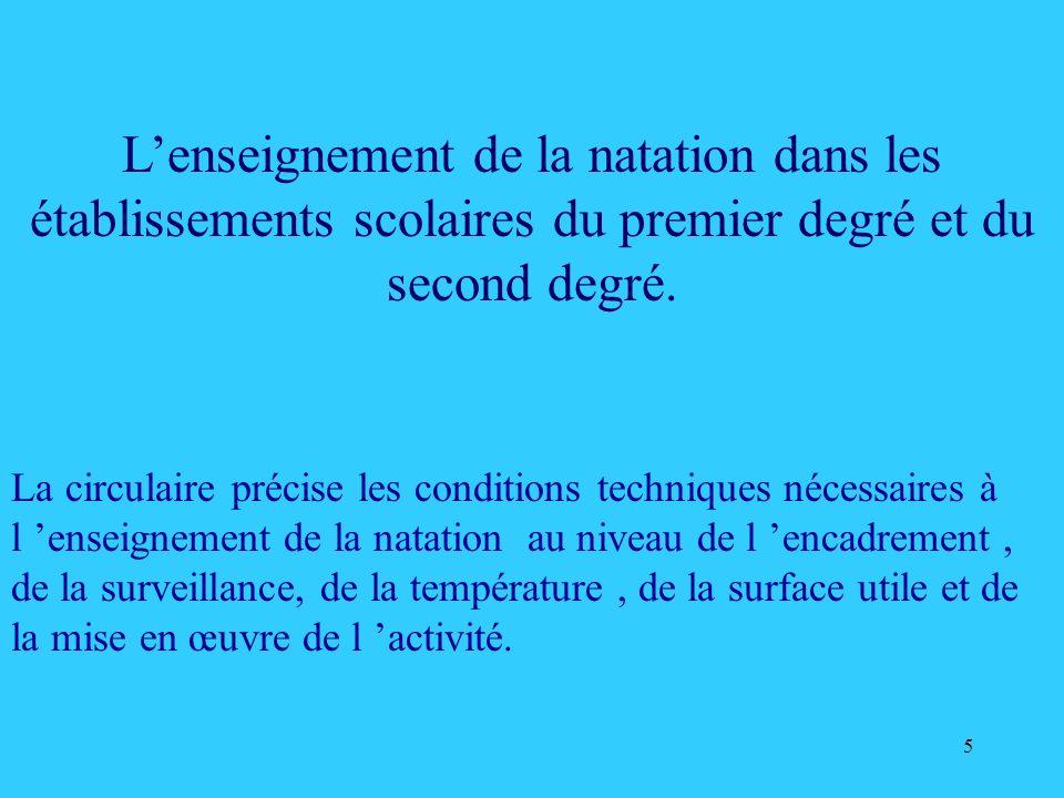 5 Lenseignement de la natation dans les établissements scolaires du premier degré et du second degré. La circulaire précise les conditions techniques