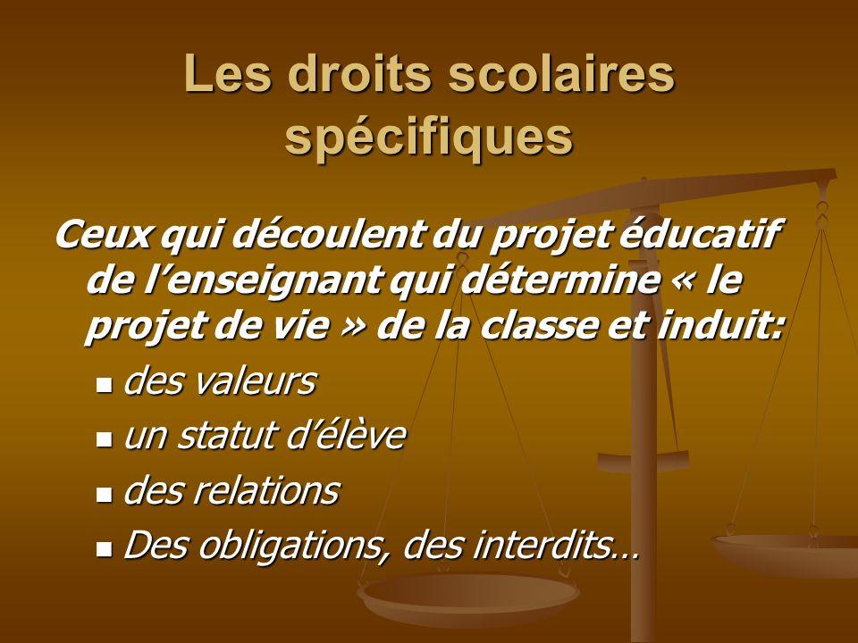 Les droits scolaires spécifiques Ceux qui découlent du projet éducatif de lenseignant qui détermine « le projet de vie » de la classe et induit: des v