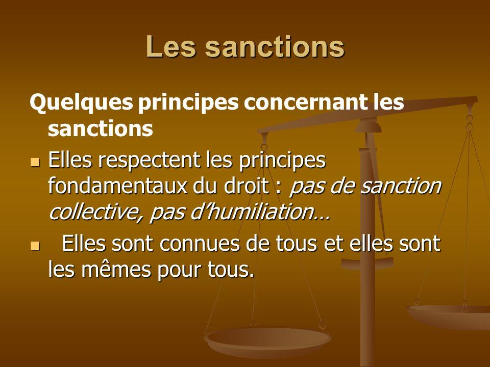Les sanctions Quelques principes concernant les sanctions Elles respectent les principes fondamentaux du droit : pas de sanction collective, pas dhumi