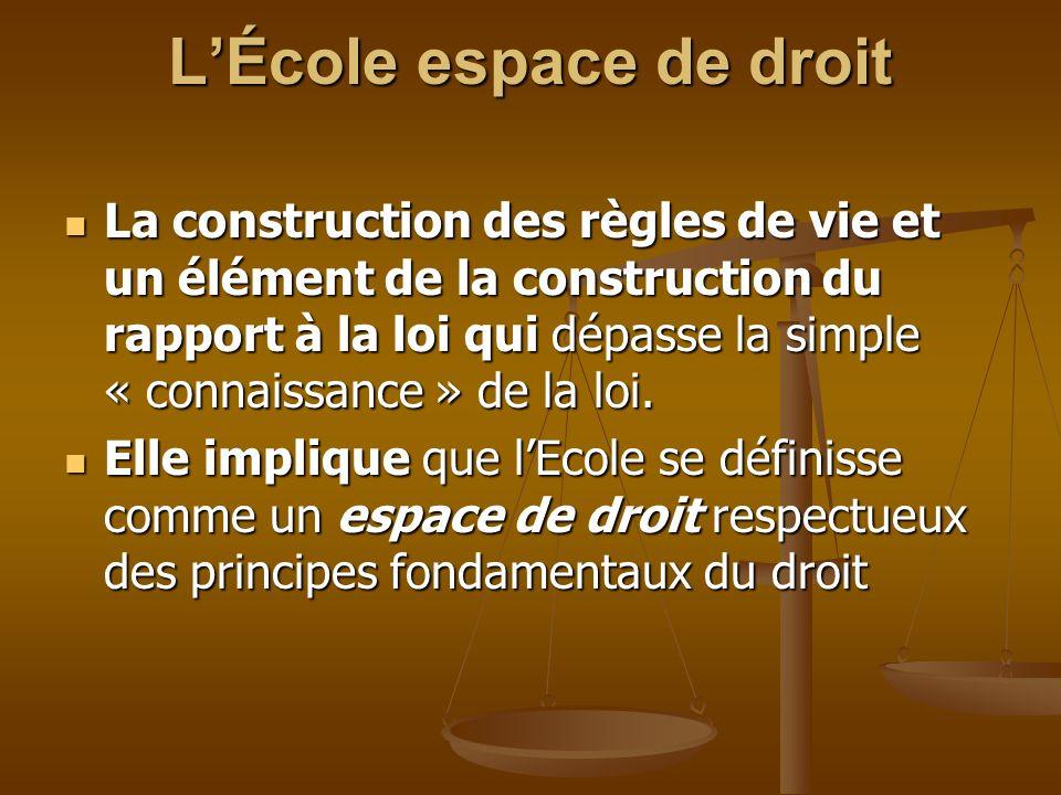 LÉcole espace de droit La construction des règles de vie et un élément de la construction du rapport à la loi qui dépasse la simple « connaissance » d