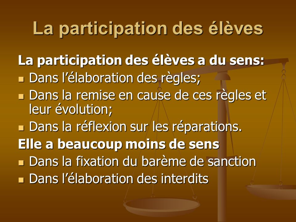 La participation des élèves La participation des élèves a du sens: Dans lélaboration des règles; Dans lélaboration des règles; Dans la remise en cause
