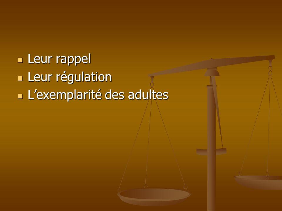 Leur rappel Leur rappel Leur régulation Leur régulation Lexemplarité des adultes Lexemplarité des adultes