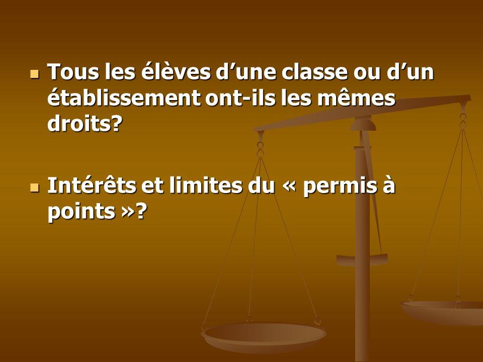 Tous les élèves dune classe ou dun établissement ont-ils les mêmes droits? Tous les élèves dune classe ou dun établissement ont-ils les mêmes droits?