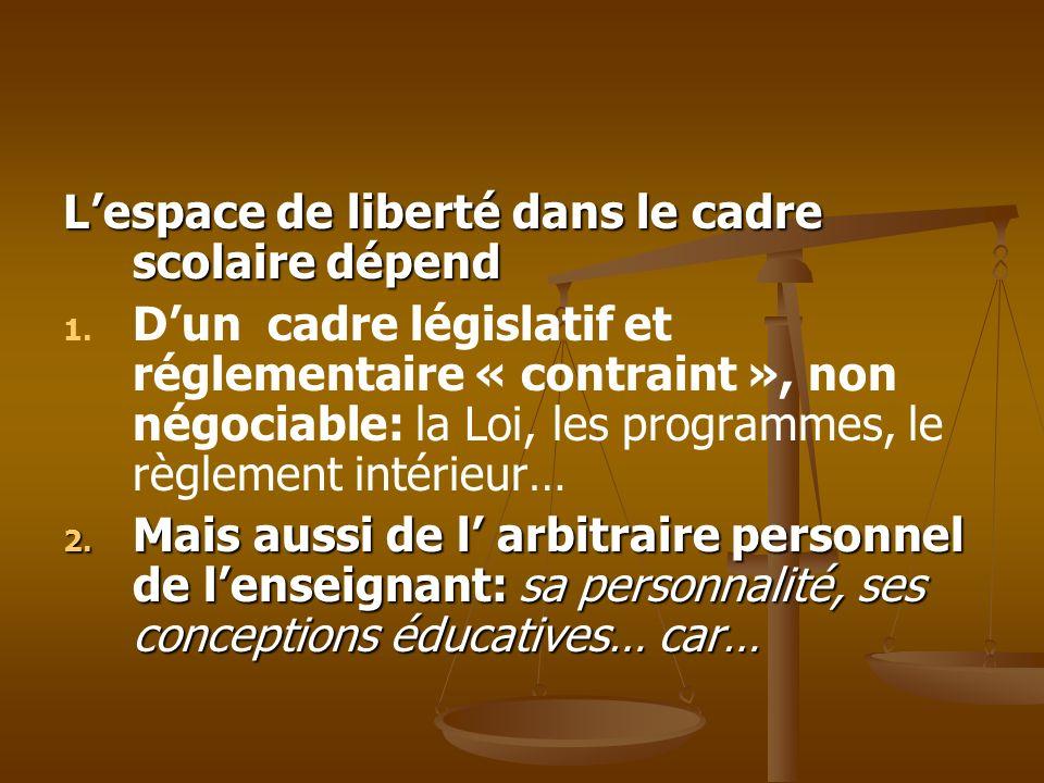 Lespace de liberté dans le cadre scolaire dépend 1. 1. Dun cadre législatif et réglementaire « contraint », non négociable: la Loi, les programmes, le