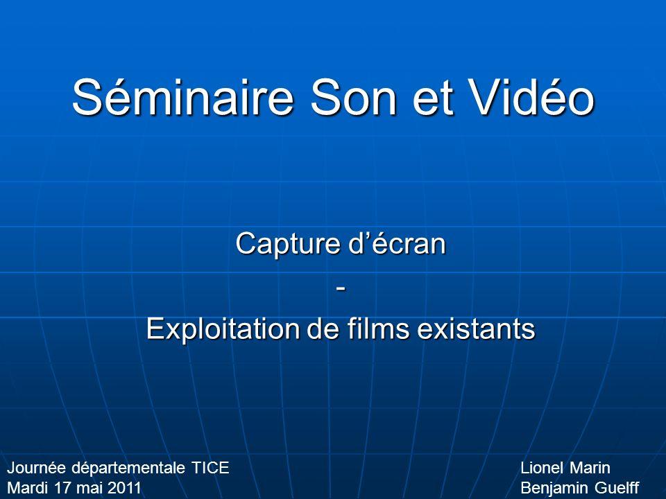 Séminaire Son et Vidéo Capture décran - Exploitation de films existants Lionel Marin Benjamin Guelff Journée départementale TICE Mardi 17 mai 2011