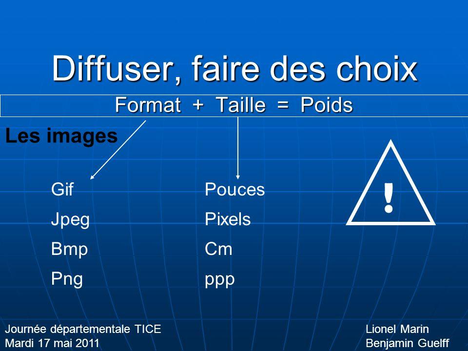 Diffuser, faire des choix Format + Taille = Poids Lionel Marin Benjamin Guelff Journée départementale TICE Mardi 17 mai 2011 Les images Gif Jpeg Bmp Png Pouces Pixels Cm ppp !