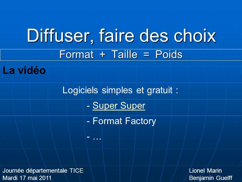 Diffuser, faire des choix Format + Taille = Poids Lionel Marin Benjamin Guelff Journée départementale TICE Mardi 17 mai 2011 La vidéo Logiciels simples et gratuit : - Super SuperSuper - Format Factory - …