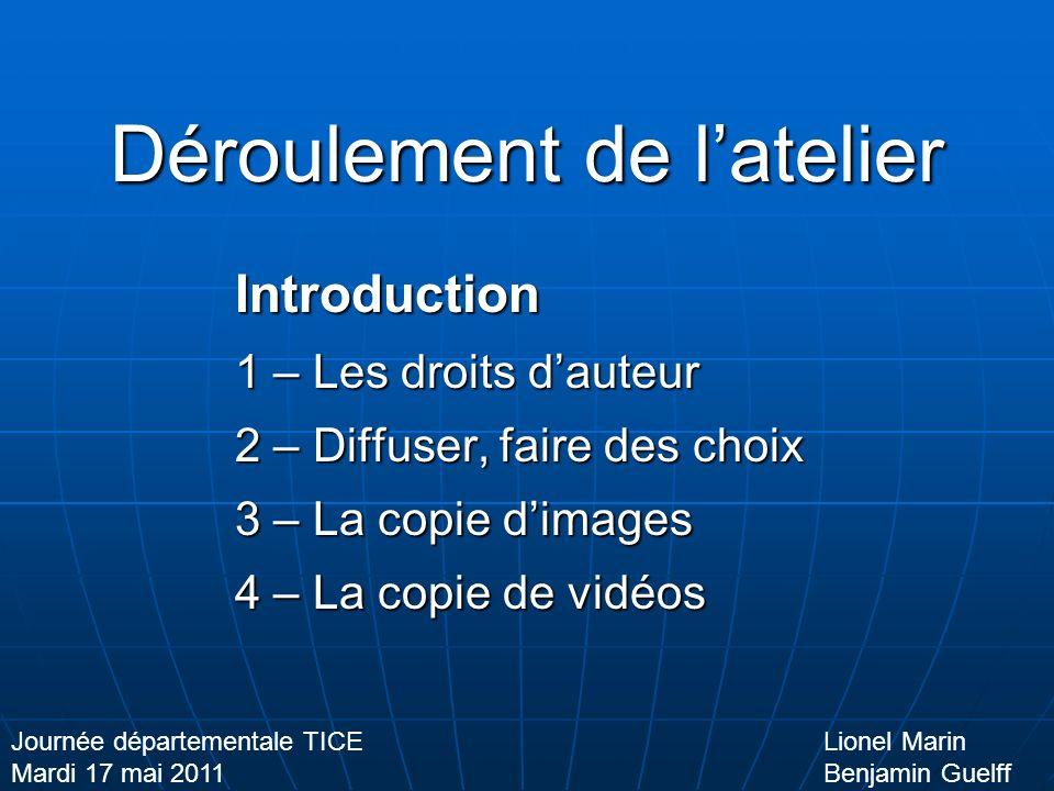 Diffuser, faire des choix Format + Taille = Poids Lionel Marin Benjamin Guelff Journée départementale TICE Mardi 17 mai 2011 La vidéo