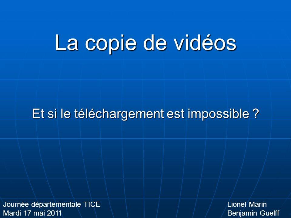 La copie de vidéos Et si le téléchargement est impossible .