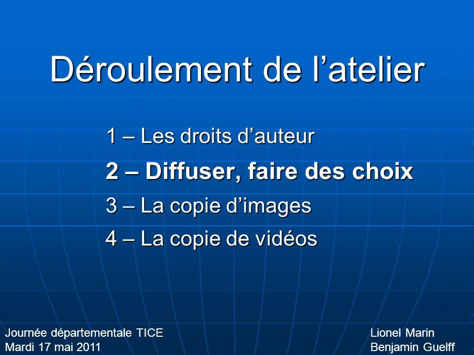 Diffuser, faire des choix Format + Taille = Poids Lionel Marin Benjamin Guelff Journée départementale TICE Mardi 17 mai 2011 La vidéo Pixels Aspect Cadre/secondes Avi Mp4 Wmv Mov !