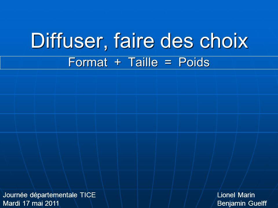 Diffuser, faire des choix Format + Taille = Poids Lionel Marin Benjamin Guelff Journée départementale TICE Mardi 17 mai 2011 La vidéo Pixels Aspect Cadre/secondes Avi Mp4 Wmv Mov .