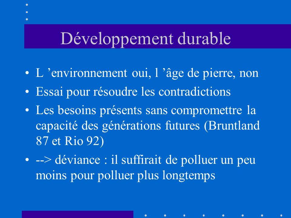 Développement durable L environnement oui, l âge de pierre, non Essai pour résoudre les contradictions Les besoins présents sans compromettre la capac
