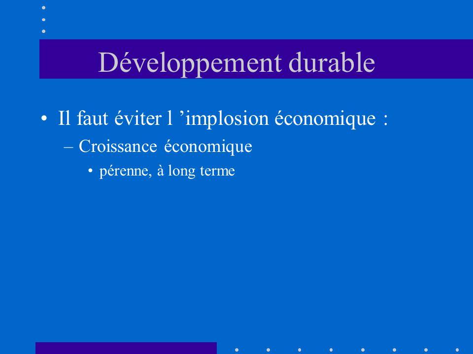 Développement durable Il faut éviter l implosion économique : –Croissance économique pérenne, à long terme