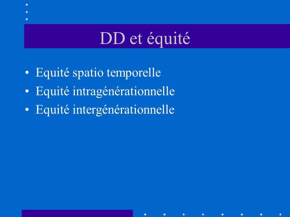 DD et équité Equité spatio temporelle Equité intragénérationnelle Equité intergénérationnelle