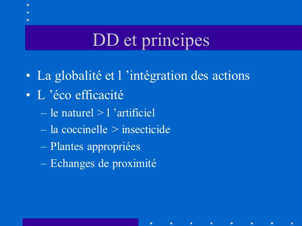 DD et principes La globalité et l intégration des actions L éco efficacité –le naturel > l artificiel –la coccinelle > insecticide –Plantes appropriée