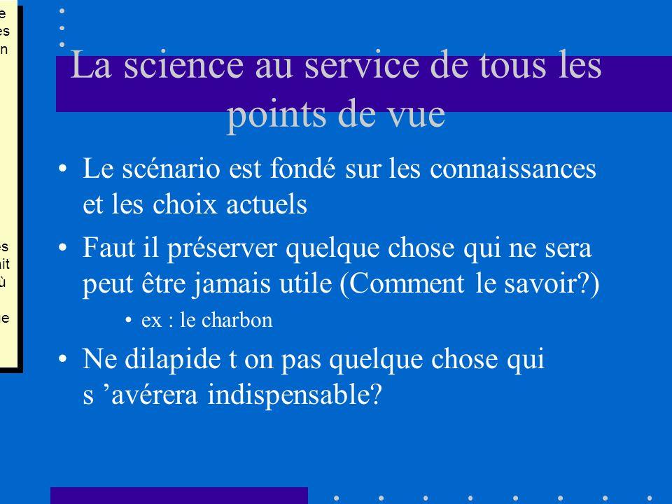 La science au service de tous les points de vue Le scénario est fondé sur les connaissances et les choix actuels Faut il préserver quelque chose qui n