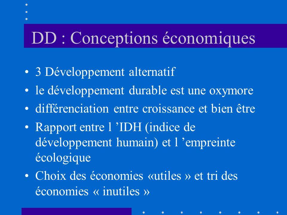 DD : Conceptions économiques 3 Développement alternatif le développement durable est une oxymore différenciation entre croissance et bien être Rapport