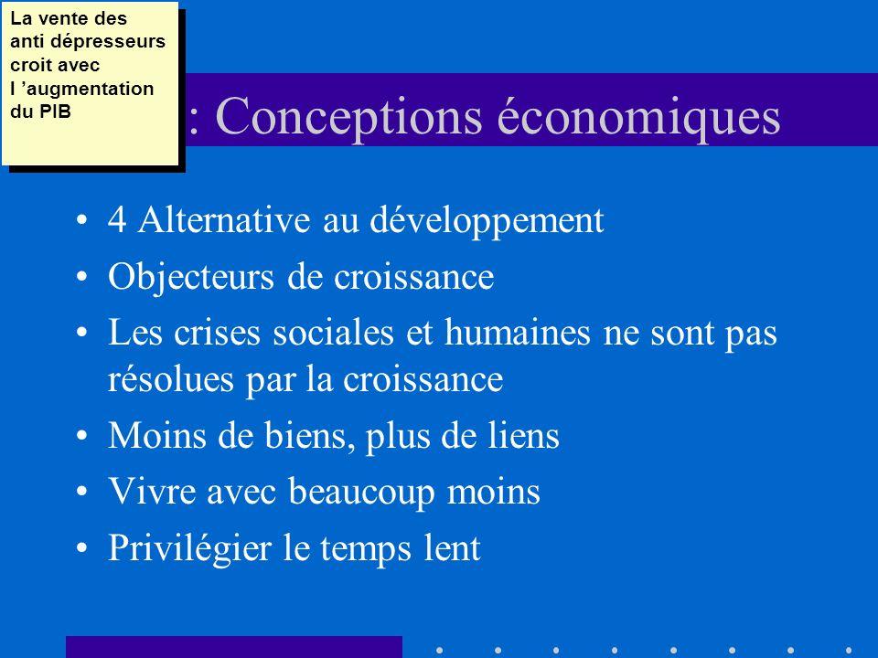 DD : Conceptions économiques 4 Alternative au développement Objecteurs de croissance Les crises sociales et humaines ne sont pas résolues par la crois