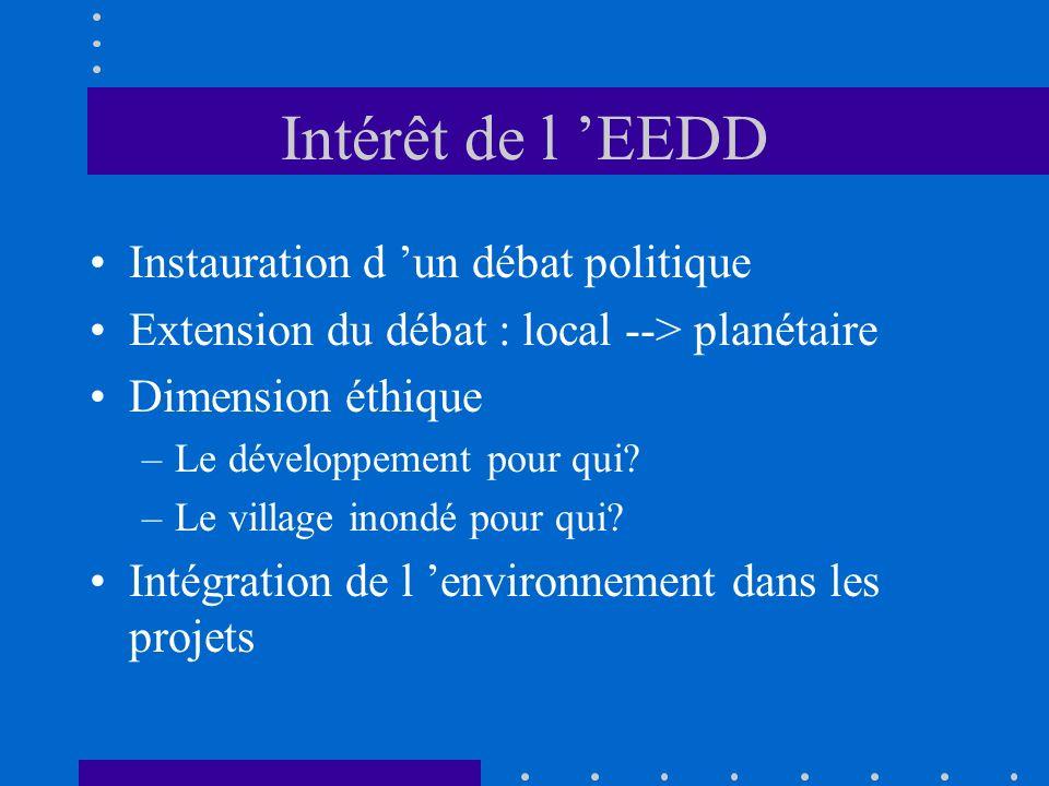 Intérêt de l EEDD Instauration d un débat politique Extension du débat : local --> planétaire Dimension éthique –Le développement pour qui? –Le villag