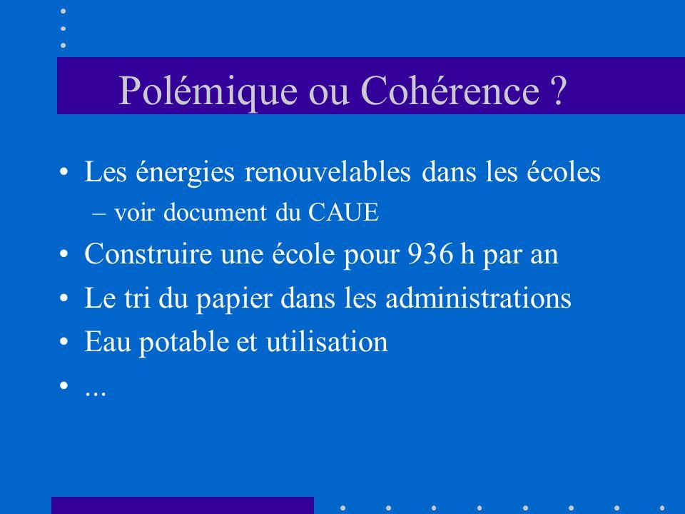 Polémique ou Cohérence ? Les énergies renouvelables dans les écoles –voir document du CAUE Construire une école pour 936 h par an Le tri du papier dan