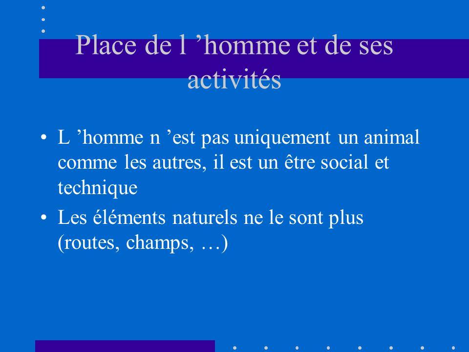 Place de l homme et de ses activités L homme n est pas uniquement un animal comme les autres, il est un être social et technique Les éléments naturels