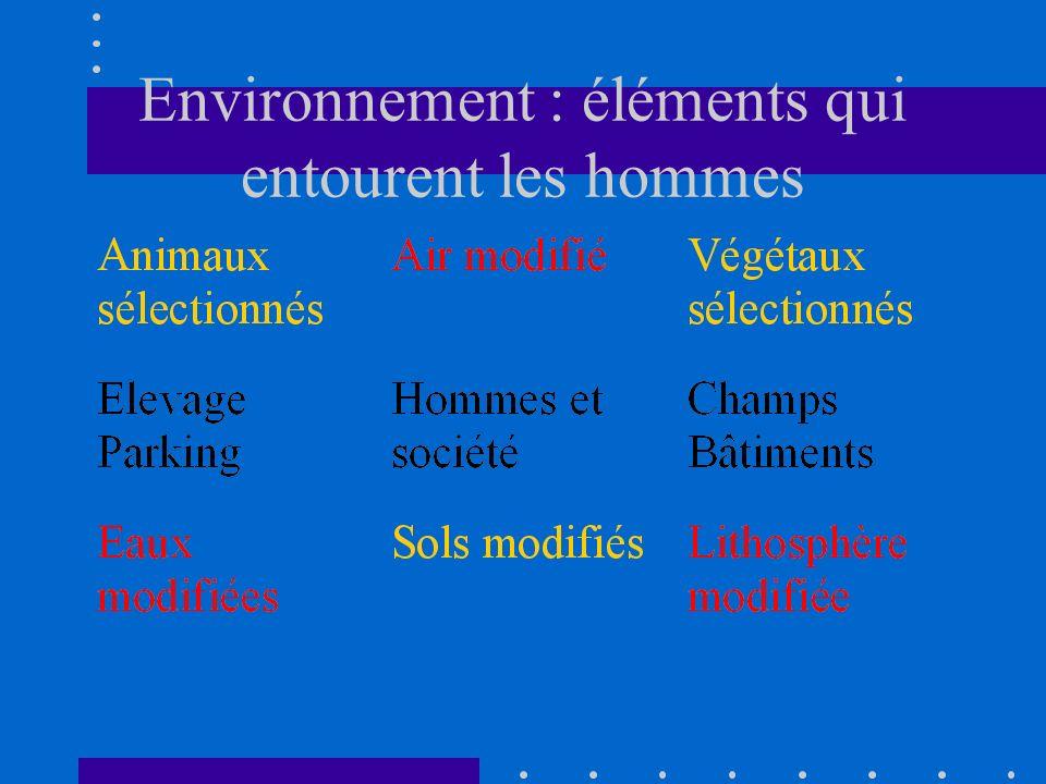 Environnement : éléments qui entourent les hommes