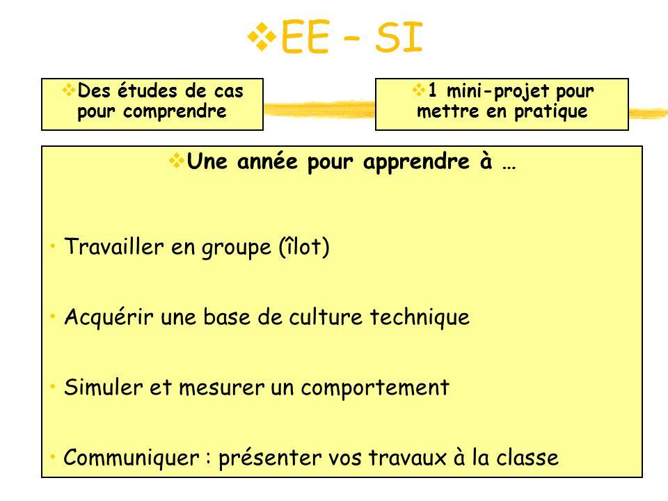 EE – SI EE – SI Une année pour apprendre à … Travailler en groupe (îlot) Acquérir une base de culture technique Simuler et mesurer un comportement Com