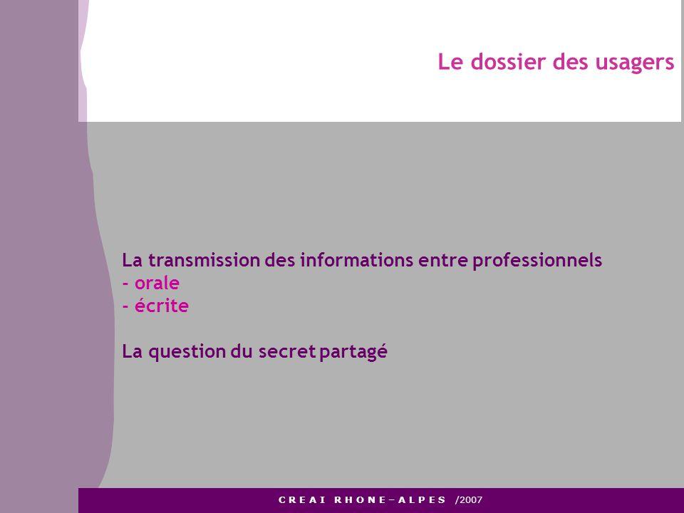 Le dossier des usagers C R E A I R H O N E – A L P E S /2007 La transmission des informations entre professionnels - orale - écrite La question du sec