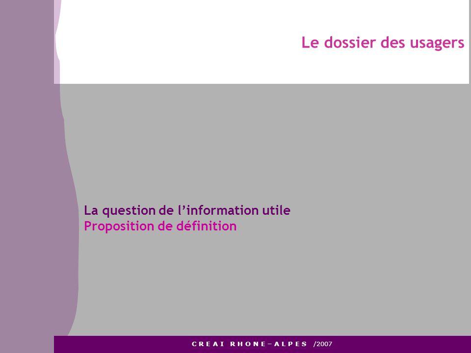Le dossier des usagers C R E A I R H O N E – A L P E S /2007 La question de linformation utile Proposition de définition