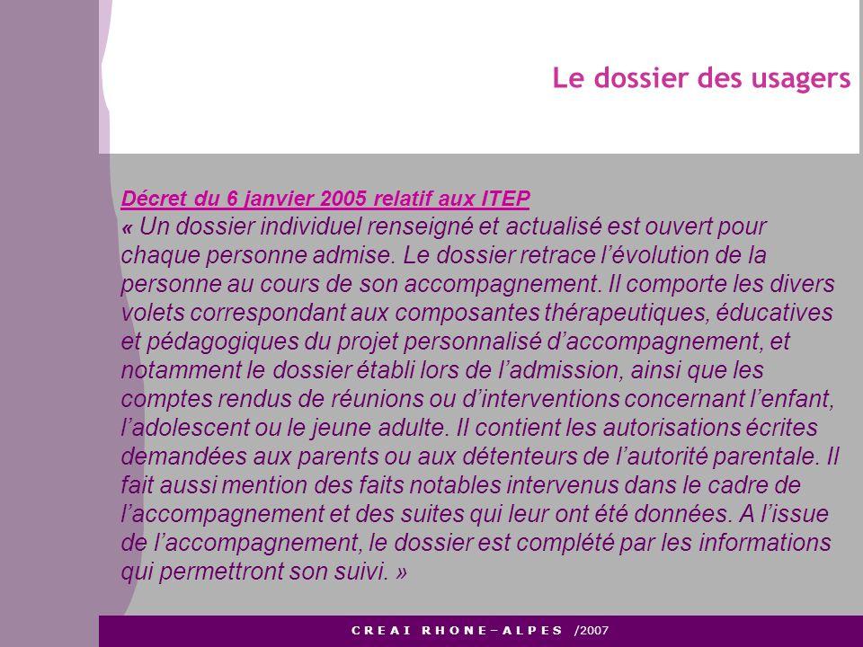 Le dossier des usagers C R E A I R H O N E – A L P E S /2007 Décret du 6 janvier 2005 relatif aux ITEP « Un dossier individuel renseigné et actualisé