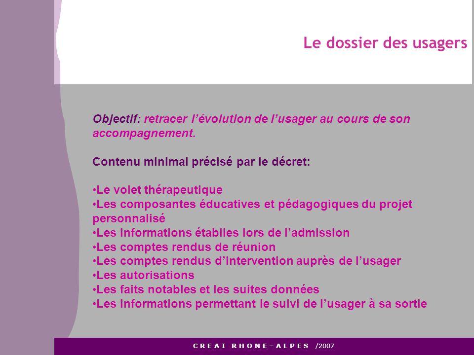 Le dossier des usagers C R E A I R H O N E – A L P E S /2007 Objectif: retracer lévolution de lusager au cours de son accompagnement. Contenu minimal