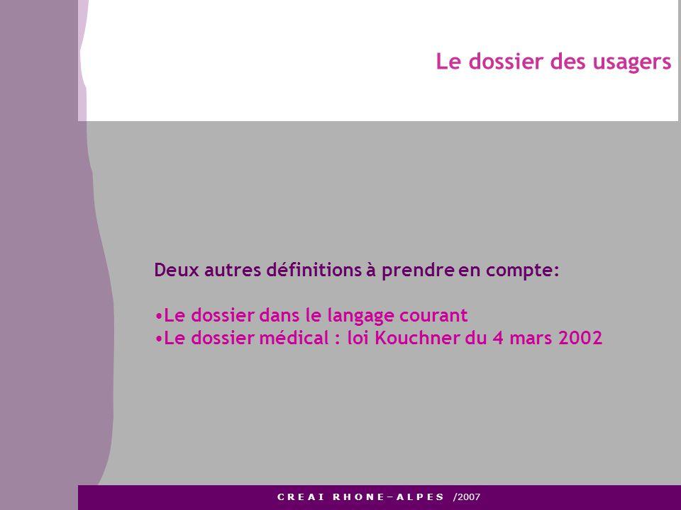 D Le dossier des usagers C R E A I R H O N E – A L P E S /2007 Deux autres définitions à prendre en compte: Le dossier dans le langage courant Le doss