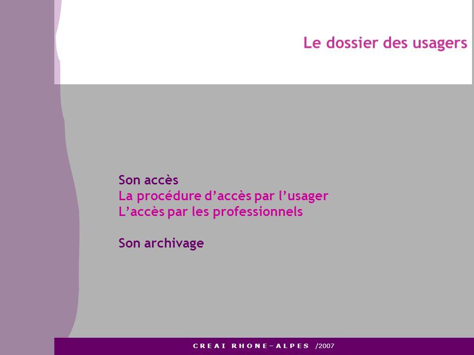Le dossier des usagers C R E A I R H O N E – A L P E S /2007 Son accès La procédure daccès par lusager Laccès par les professionnels Son archivage