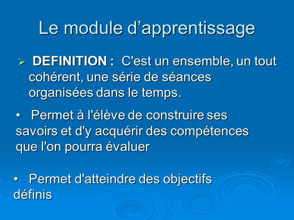 Le module dapprentissage DEFINITION : C'est un ensemble, un tout cohérent, une série de séances organisées dans le temps. DEFINITION : C'est un ensemb