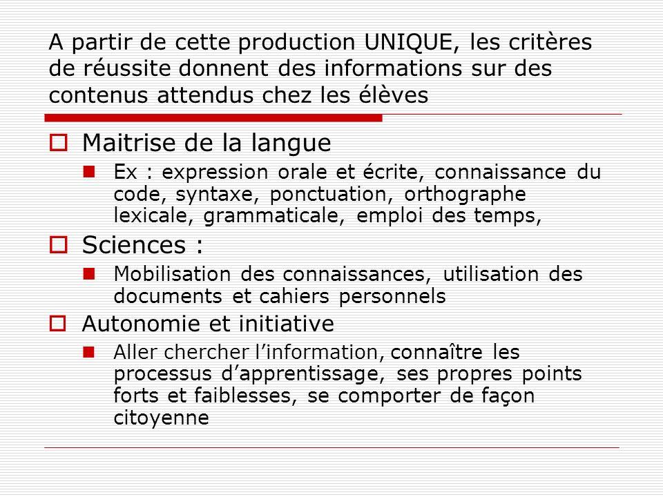 A partir de cette production UNIQUE, les critères de réussite donnent des informations sur des contenus attendus chez les élèves Maitrise de la langue