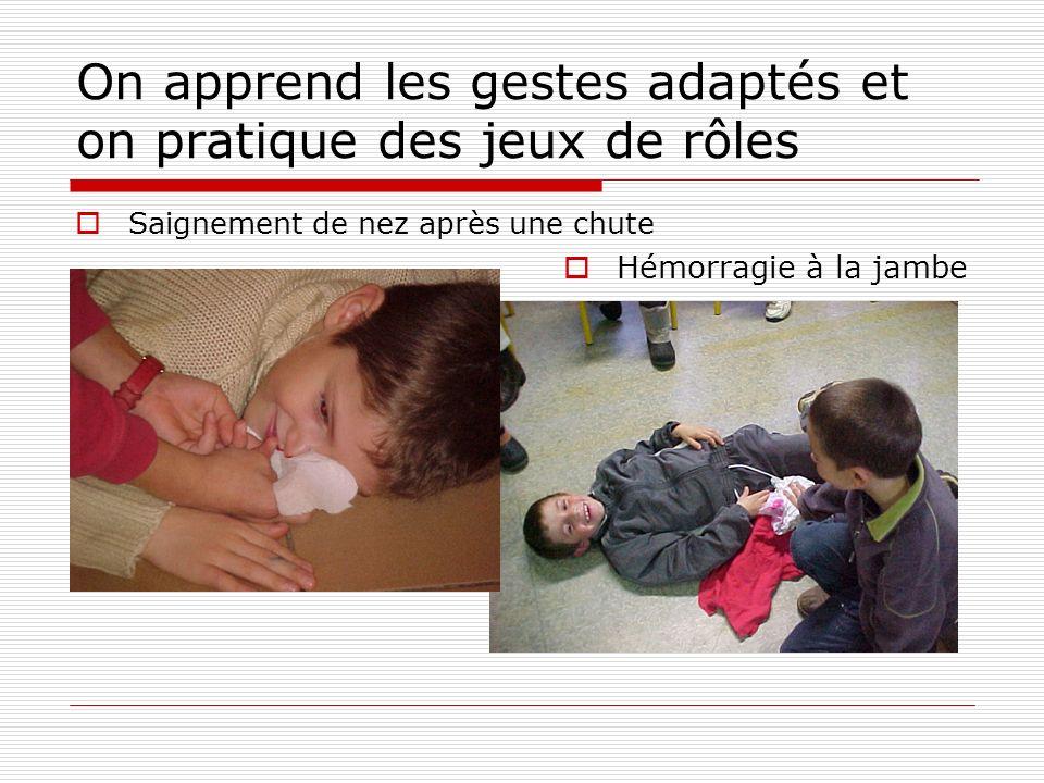 On apprend les gestes adaptés et on pratique des jeux de rôles Saignement de nez après une chute Hémorragie à la jambe