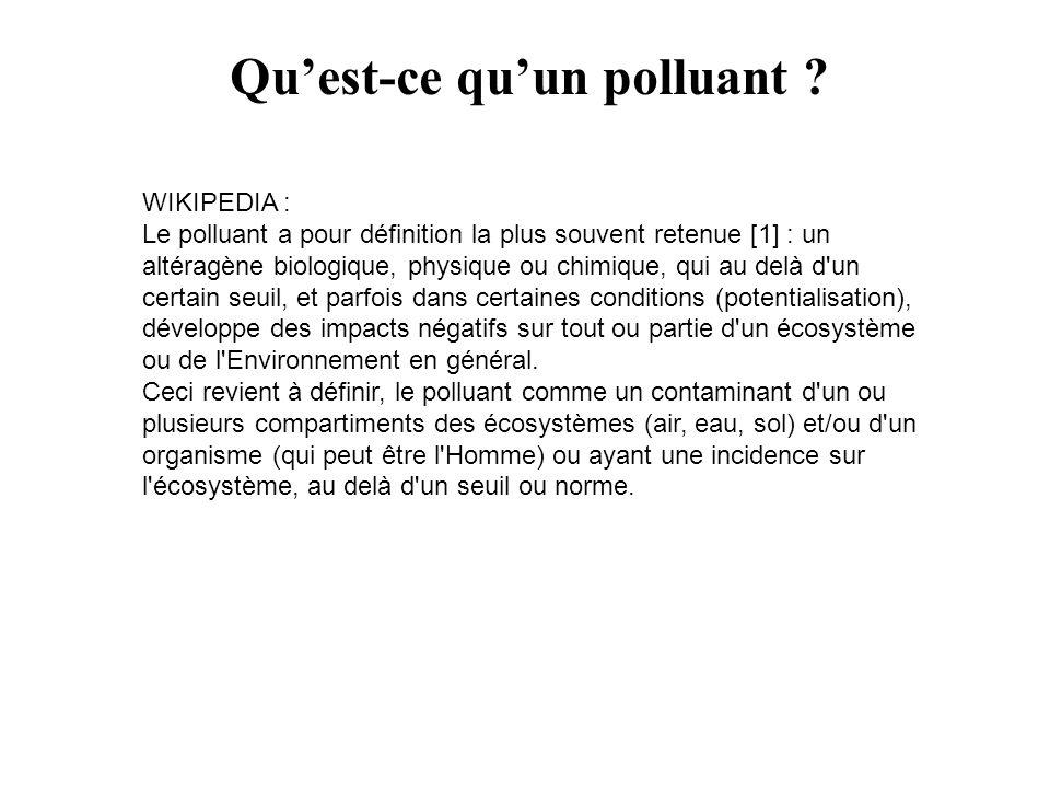 WIKIPEDIA : Le polluant a pour définition la plus souvent retenue [1] : un altéragène biologique, physique ou chimique, qui au delà d'un certain seuil